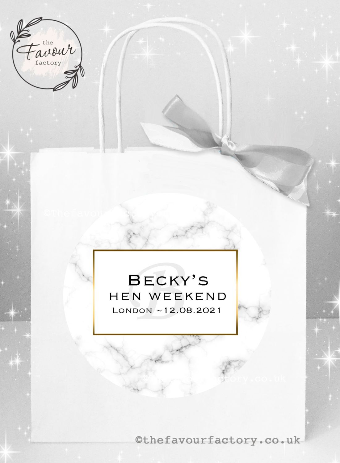 Personalised Hen Party Bags Modern Marble x 1
