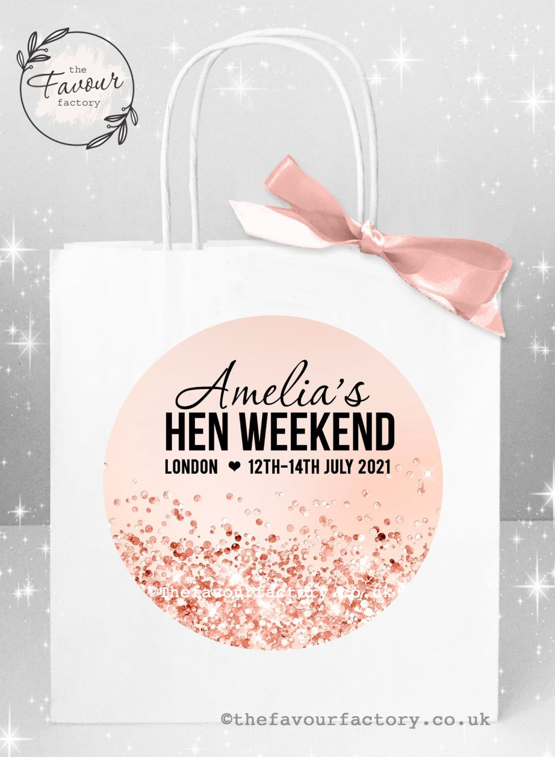 Personalised Hen Party Bags Rose Gold Glitter Confetti x 1