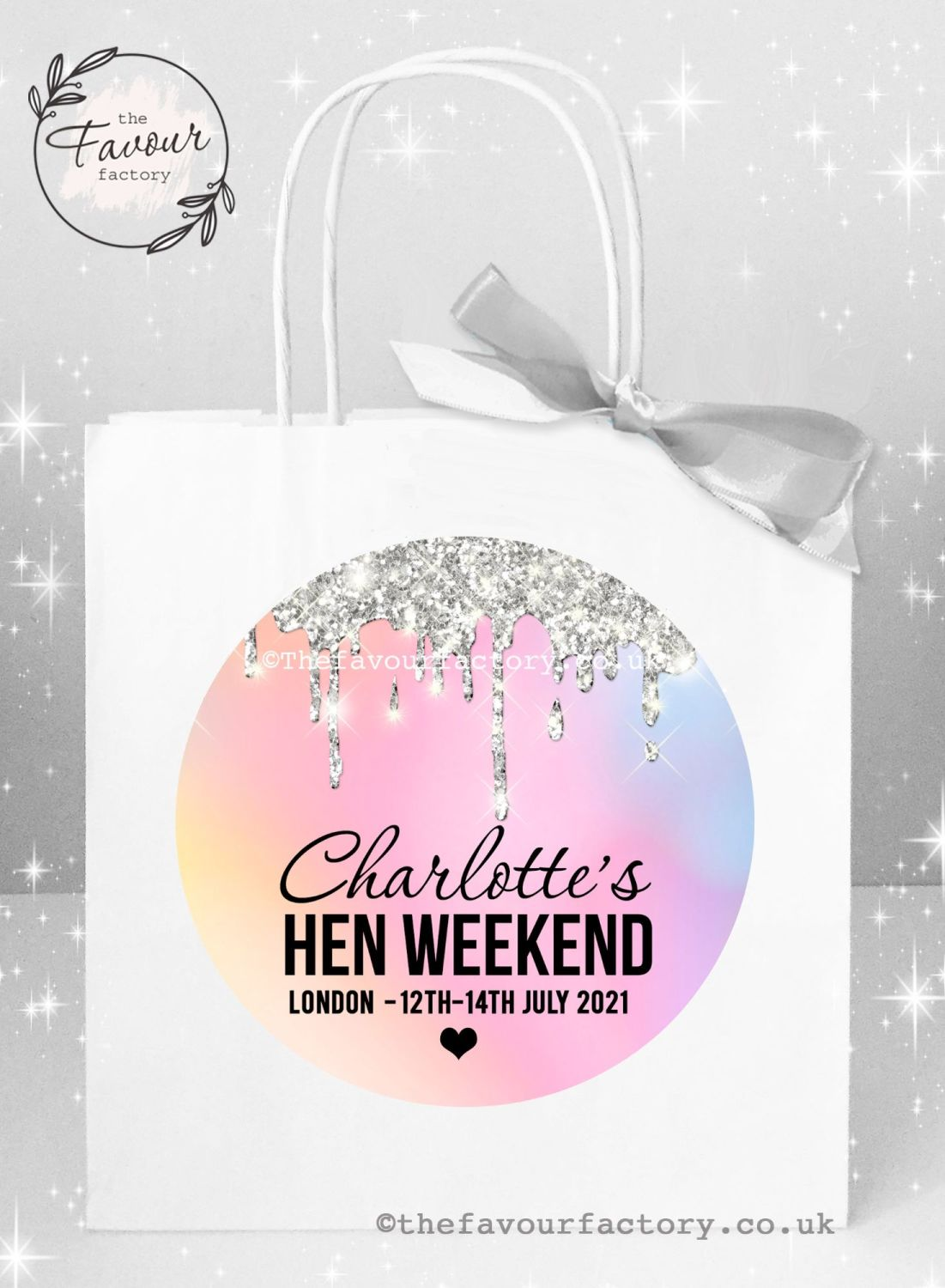 Personalised Hen Party Bags Rainbow silver Dripping Glitter x 1