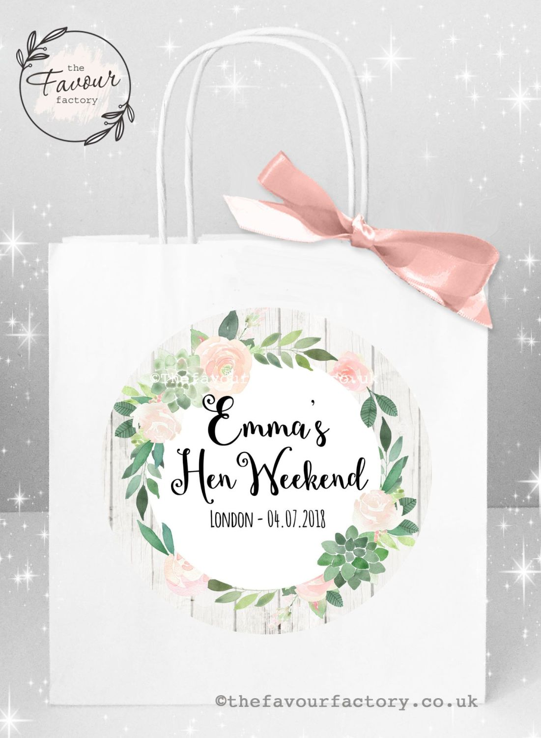Personalised Hen Party Bags Boho Succulents x 1