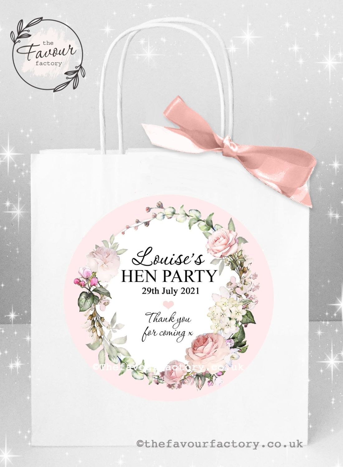 Personalised Hen Party Bags Vintage Floral Wreath x 1