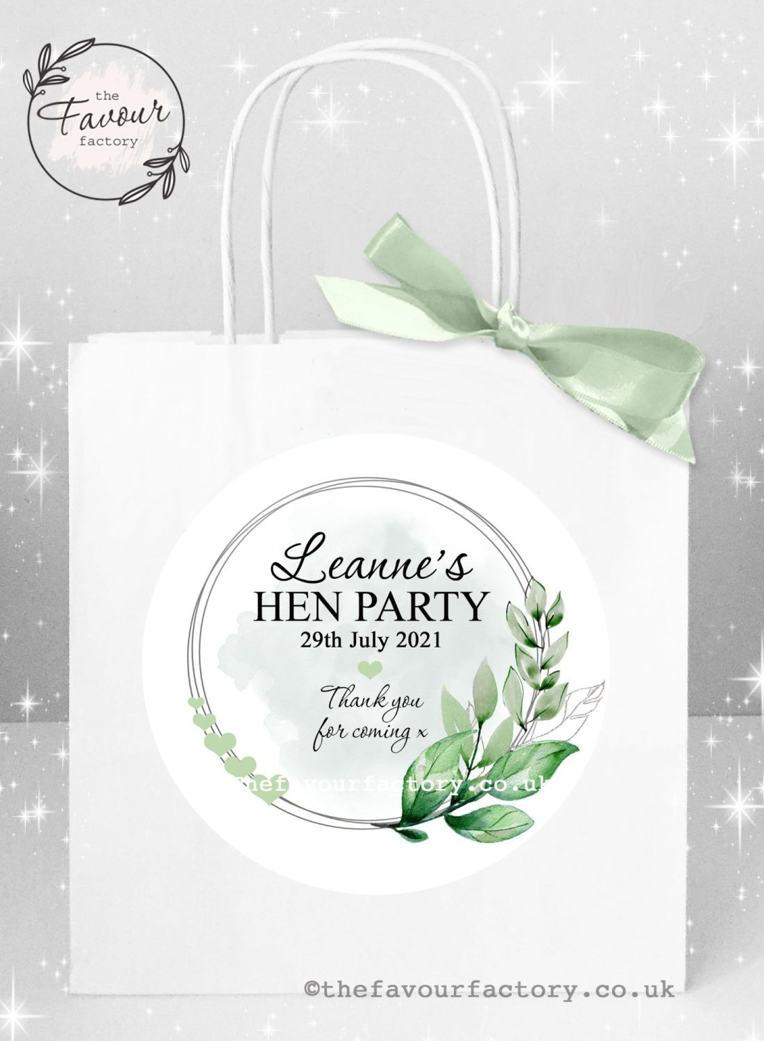 Personalised Hen Party Bags Botanical Leaves And Hearts x 1
