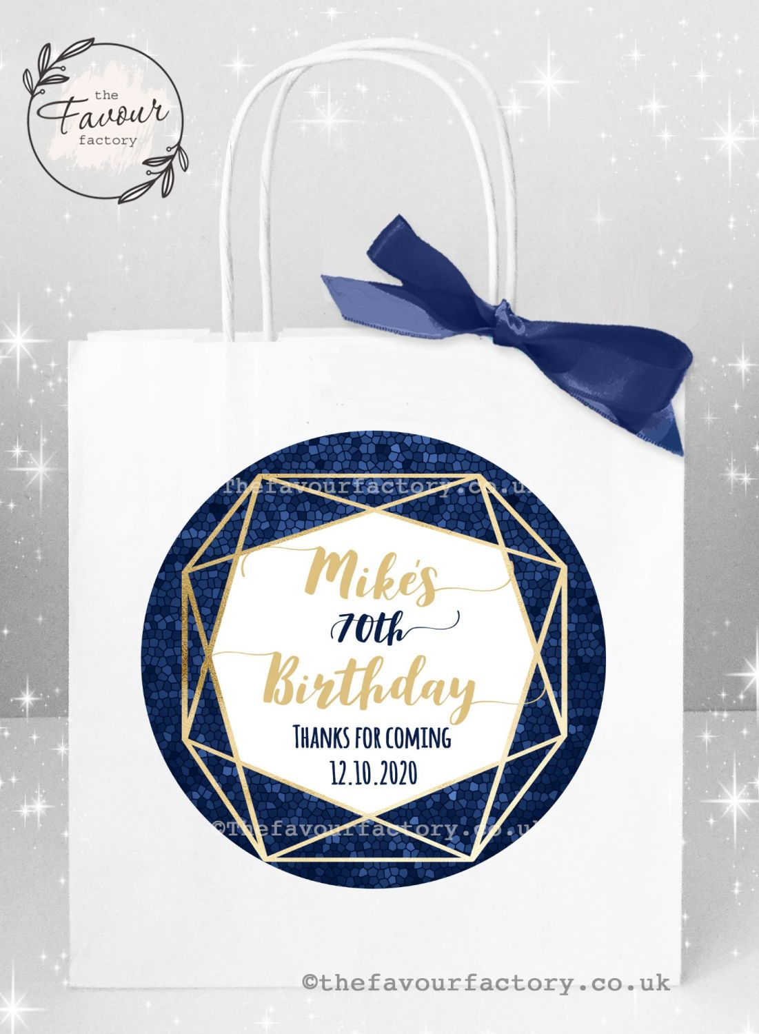 Personalised Birthday Party Bags Navy And Gold Geometric Frame x 1
