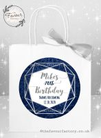 Personalised Birthday Party Bags Navy And Silver Geometric Frame x 1