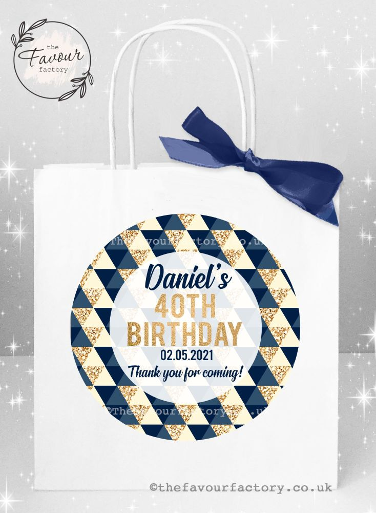 Personalised Birthday Party Bags Navy And Gold Geometric Shapes x 1