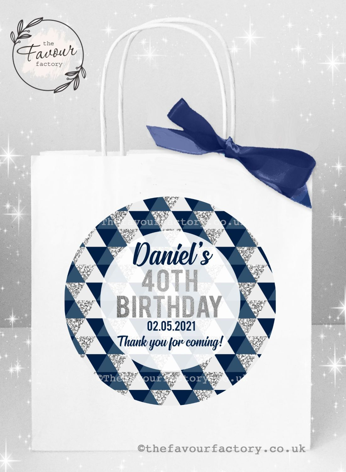 Personalised Birthday Party Bags Navy And Silver Geometric Shapes x 1