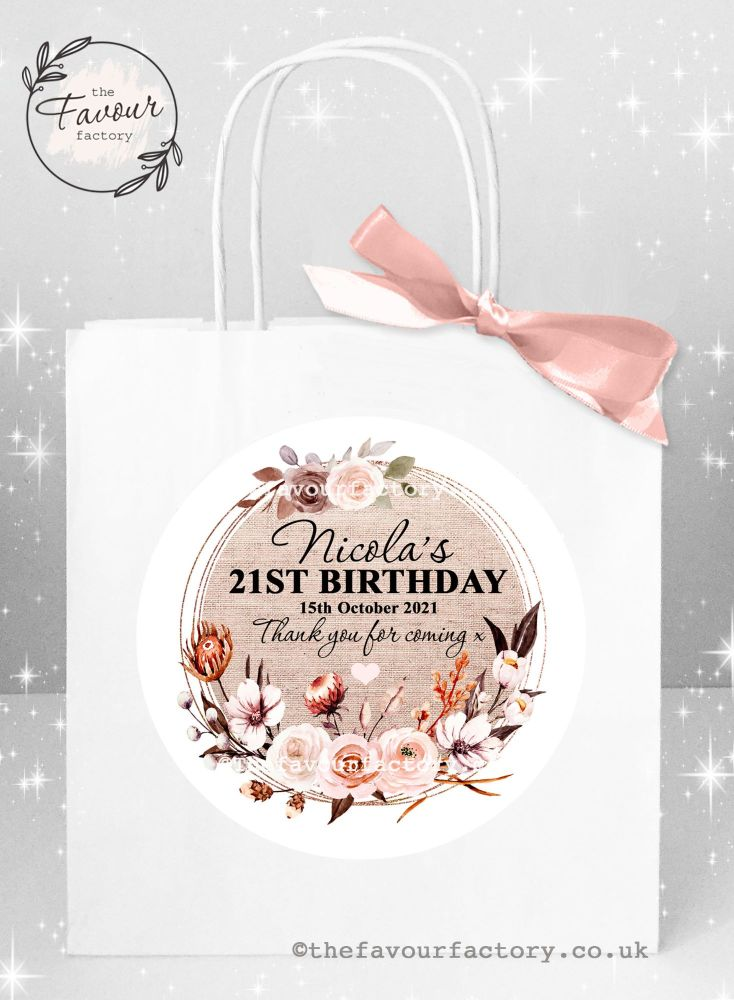 Personalised Birthday Party Bags Autumn Florals Burlap Frame x 1