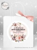 Personalised Birthday Party Bags Autumn Watercolour Floral Frame x 1