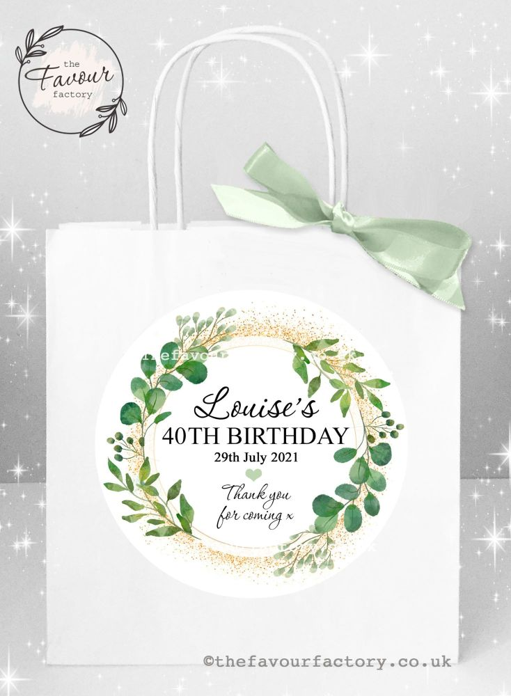 Personalised Birthday Party Bags Botanical Gold Dust x 1