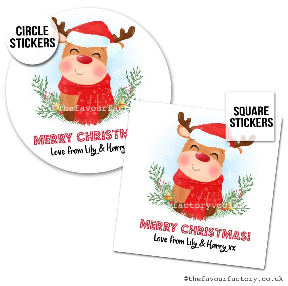Christmas Stickers Happy Rudolph x1