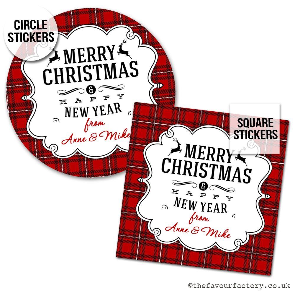 Christmas Stickers Traditional Plaid Gingham x1