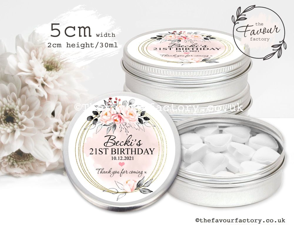 Adult Birthday Favour Tins Blush & Grey Watercolour Floral Frame x1