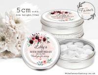 Adult Birthday Favour Tins Burgundy Blush Watercolour Floral Frame x1
