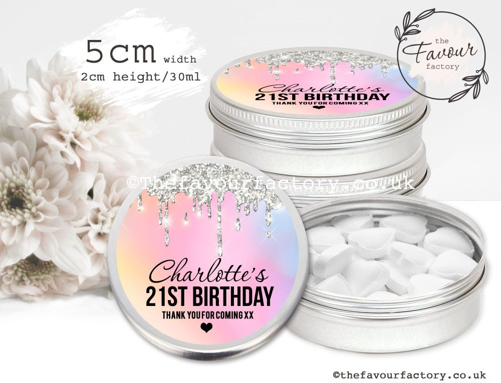 Adult Birthday Favour Tins Rainbow Silver Dripping Glitter x1