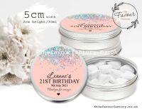 Adult Birthday Favour Tins Rose Gold Glitter Confetti x1