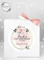 Personalised Birthday Party Bags Blush And Grey Watercolour Floral Frame x 1