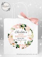 Personalised Birthday Party Bags Blush Hydrangeas x 1