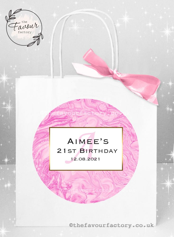 Personalised Birthday Party Bags Pink Liquid Marble x 1