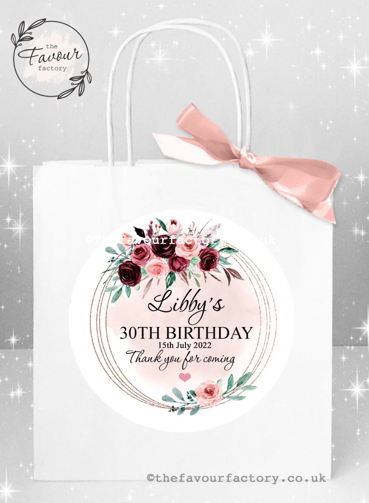 Personalised Birthday Party Bags Burgundy Blush Floral Frame x 1
