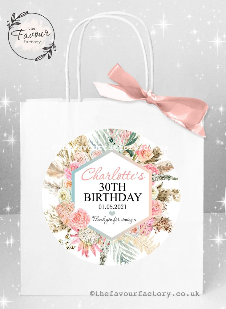 Personalised Birthday Party Bags Floral Pampas x 1
