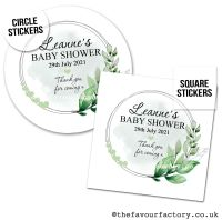 Baby Shower Favour Stickers Botanical Heart Leaf Frame - A4 Sheet x1
