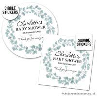 Baby Shower Favour Stickers Botanical Eucalyptus Wreath - A4 Sheet x1