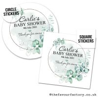 Baby Shower Favour Stickers Elegant Eucalyptus - A4 Sheet x1