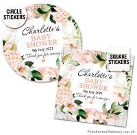 Baby Shower Favour Stickers Blush Hydrangeas Wreath x1