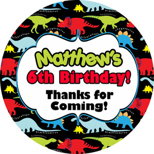 Dinosaur Brights Personalised Birthday party bags sweet cone stickers labels