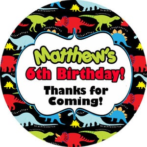 Dinosaur Brights Birthday Party bag personalised stickers, 1xA4 sheet