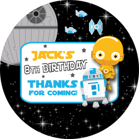 Star Wars Theme Birthday Party Personalised party stickers 1xA4 sheet