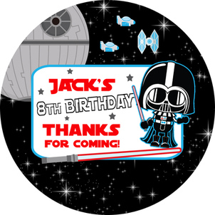 Star Wars Darth Birthday Party Personalised stickers 1xA4 sheet