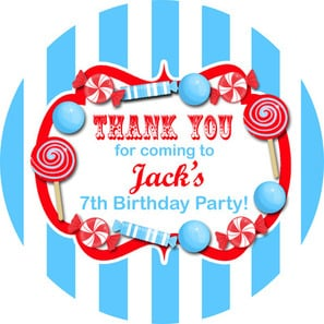 Candy Stripe Blue/Red Personalised Birthday party bags stickers 1xA4 sheet