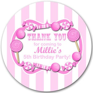 Candy Stripe Pinks Personalised Birthday party bags stickers 1xA4 sheet