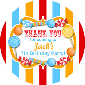 Birthday Stickers Sweets Candy Stripes Circus Brights
