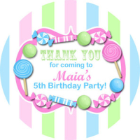 Pastels, Candy Sweet Shop Striped Personalised party bag stickers 1xA4 sheet