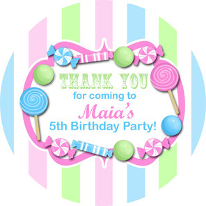 Pastels, Candy Sweet Shop Striped Personalised party bag stickers 1xA4 shee
