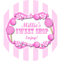 Pinks, Candy Sweet Shop Striped Personalised party bag stickers 1xA4 sheet