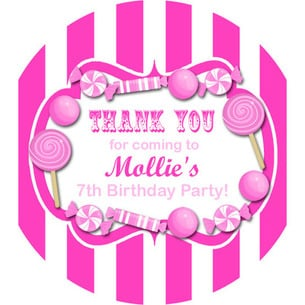 Candy Stripe Hot Pink Personalised party bags stickers 1xA4 sheet