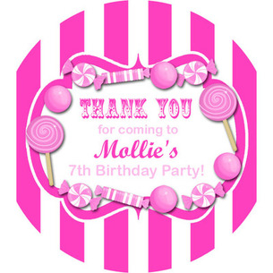 Kids Birthday Party Stickers Labels  Candy Stripe Hot Pink