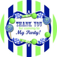 Candy Stripe Navy & Lime Personalised party bags stickers 1xA4 sheet