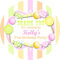 Kids Birthday Party Stickers Labels Candy Stripe Citrus