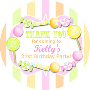 Candy Stripe Citrus Personalised party bags stickers 1xA4 sheet