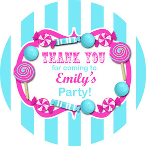 Kids Birthday Party Stickers Sweets Stripes Turquoise & Hot Pink