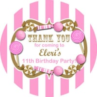 Candy Stripe Gold & Pink Personalised party bags stickers 1xA4 sheet