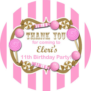 Candy Stripes Gold And Pink Personalised Party Stickers