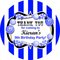 Candy Stripe Royal Blue Personalised party bags stickers 1xA4 sheet