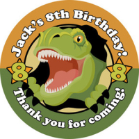 Scary Dinosaur Birthday party bags stickers, personalised 1xA4 sheet