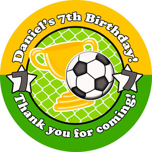 Football Personalised Birthday party bags sweet cone stickers labels