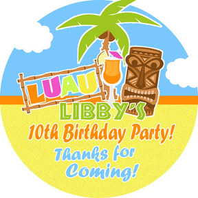 Luau Hawaiian party Personalised party bag stickers 1xA4 sheet